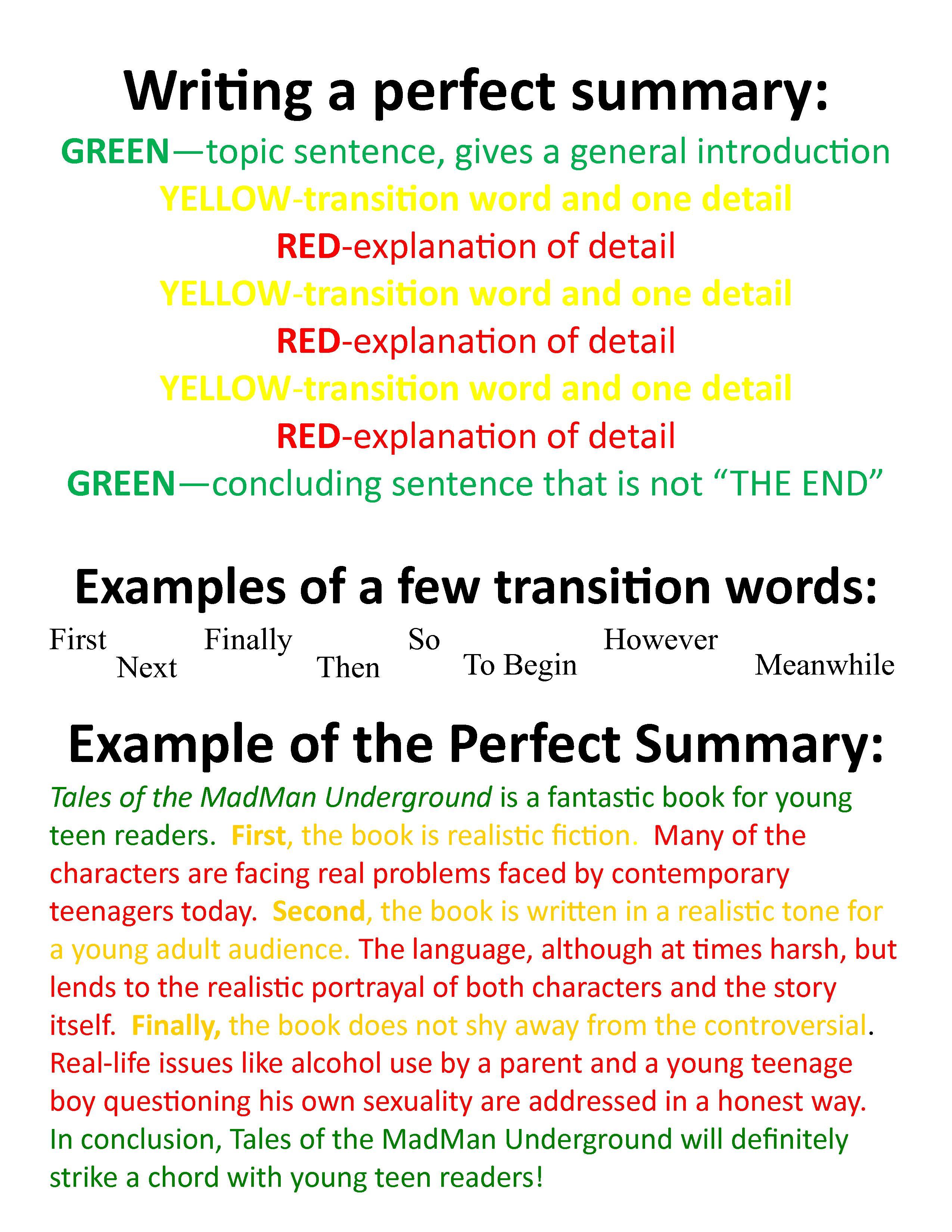 Writing A Perfect Summary  NKC_BookSpace