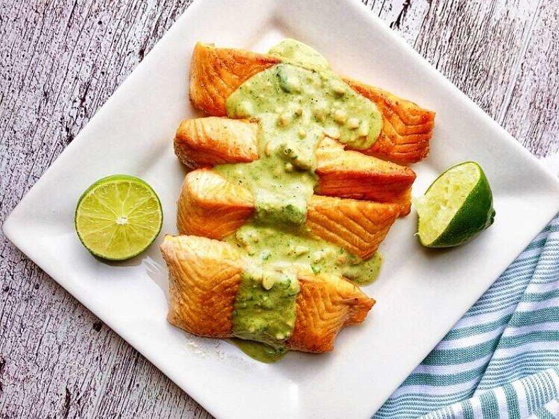 How to Make Healthy Salmon with Green Sauce | Nkechi Ajaeroh