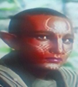 image shows a DA: Inquisition character: middle-toned black female elf with white facial markings and nearly bald shaven head