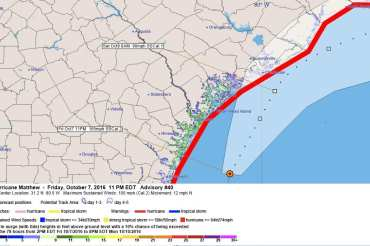 Hurricane Matthew Advisory Forecast Wind Speeds Storm Surge Discussion 40