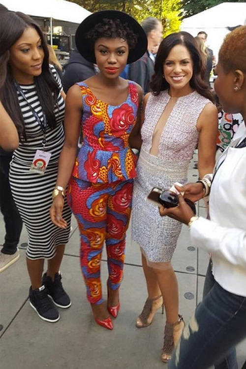 Becca pictured with Soledad O'Brien of CNN and others backstage
