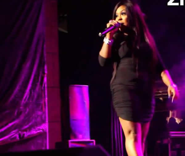 Afia Schwarzenegger on stage at girl talk 2015