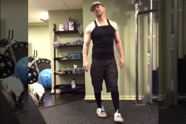 Donnie Wahlberg at the gym Total Package Tour