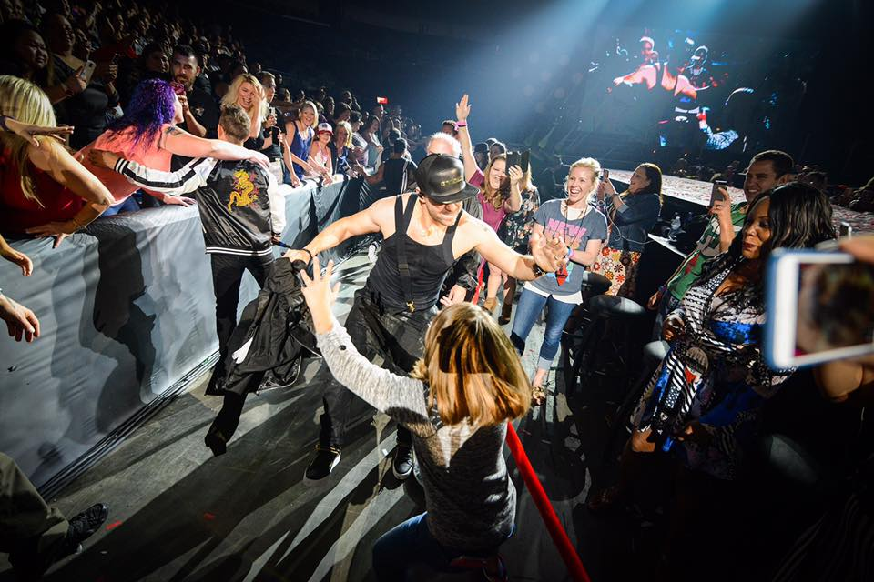 Donnie Wahlberg dancing with girl in new orleans total package tour