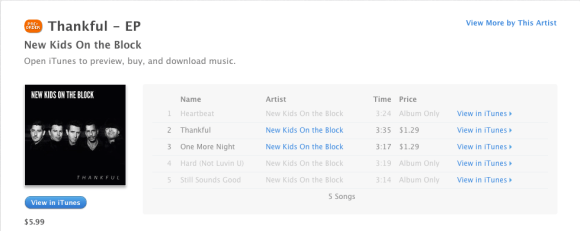 Pre order New Kids On The Block Thankful on iTunes
