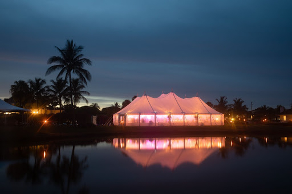 Waterfront Tent Wedding in Boca Raton at Night