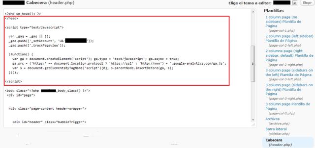 WordPress – Donde insertar el código de google analytics   NKSistemas