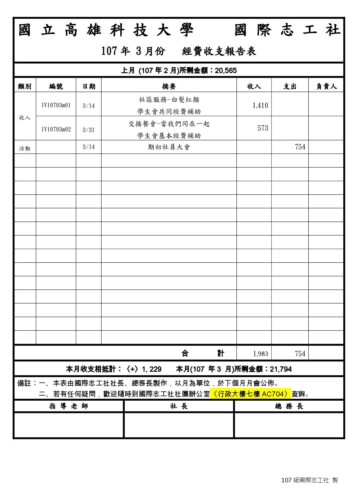 107年 行政帳冊 – 國際志工社