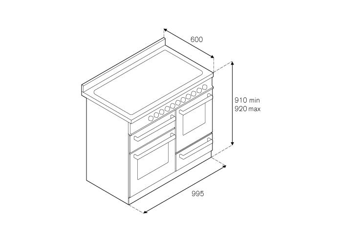 100 cm 6-Branders, Elektrische Triple Oven