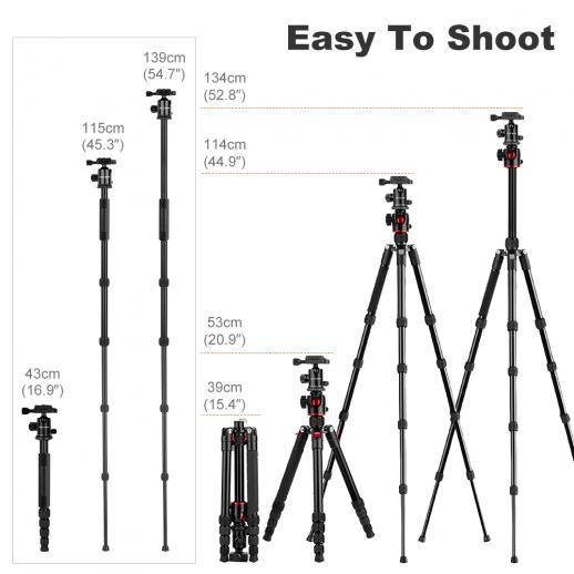 K&F Concept TM2515T DSLR Camera Statief Monopod voor Canon