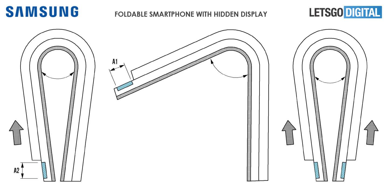 Samsung Galaxy X smartphone met verborgen tweede display