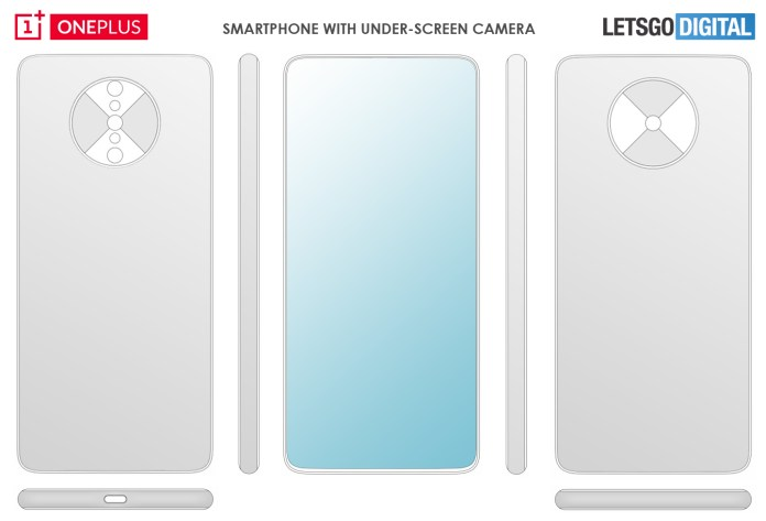 Смартфон OnePlus под экраном камеры