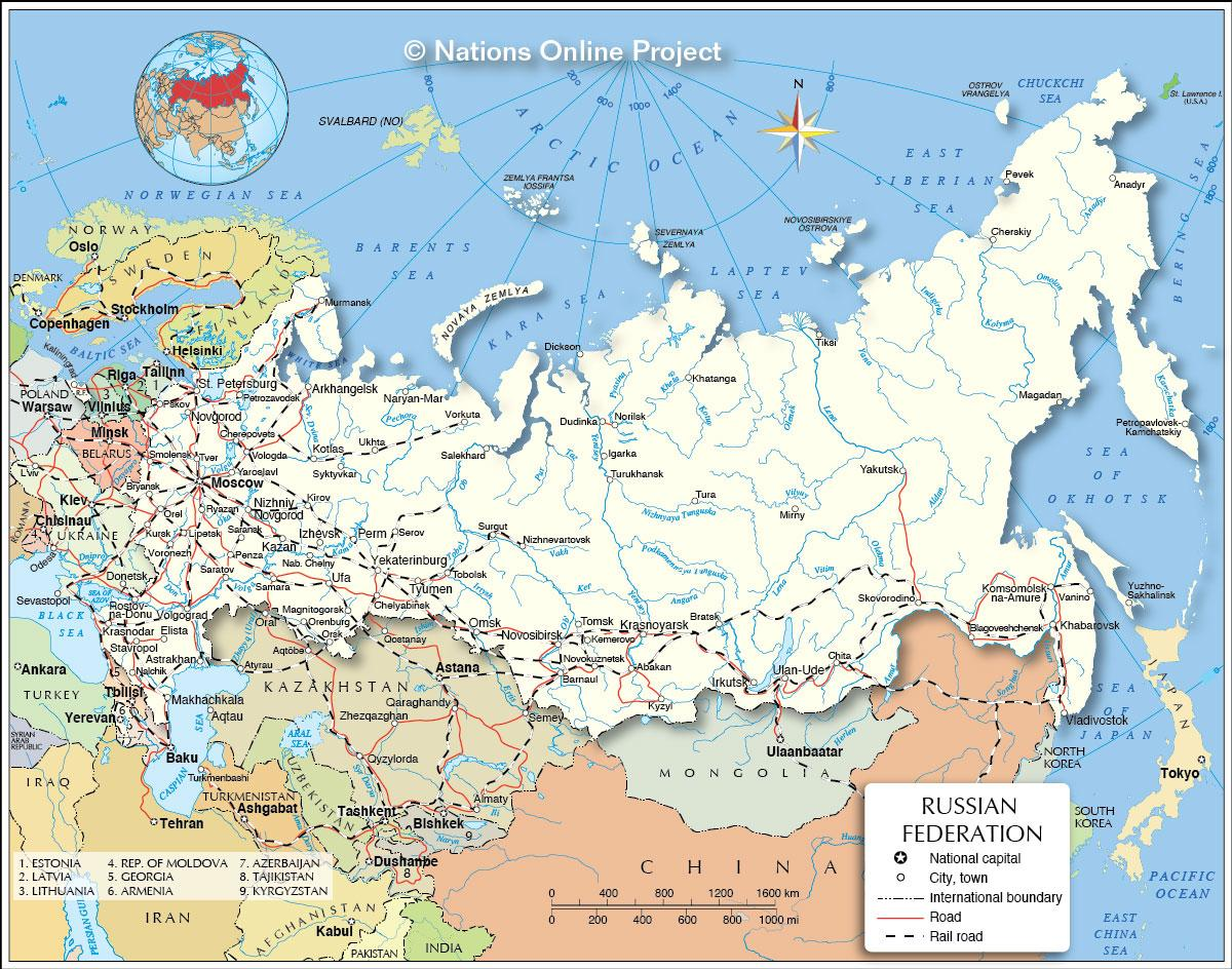 Landen Grenzend Aan Rusland Kaart