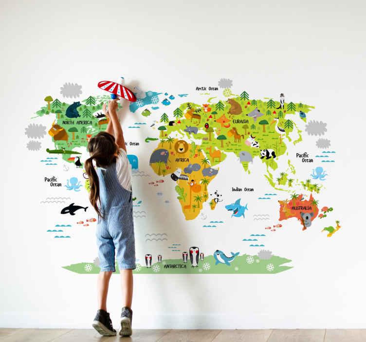 Wereldkaart muursticker dieren voor kinderen  TenStickers