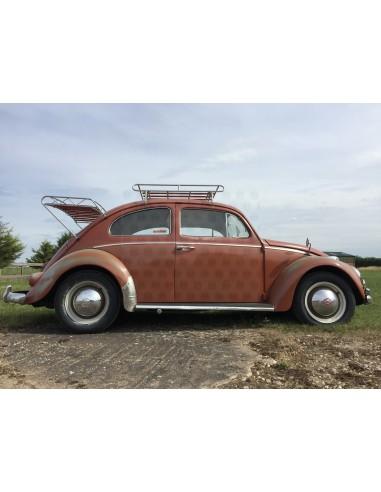 classic beetle nla vw roof rack silver powder coating with wood slats