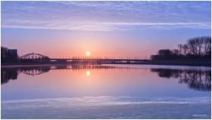 Arnhem, Sunset, Spiegeling, Reflection. wolken, colours, sky, lucht, ruimte voor de rivier