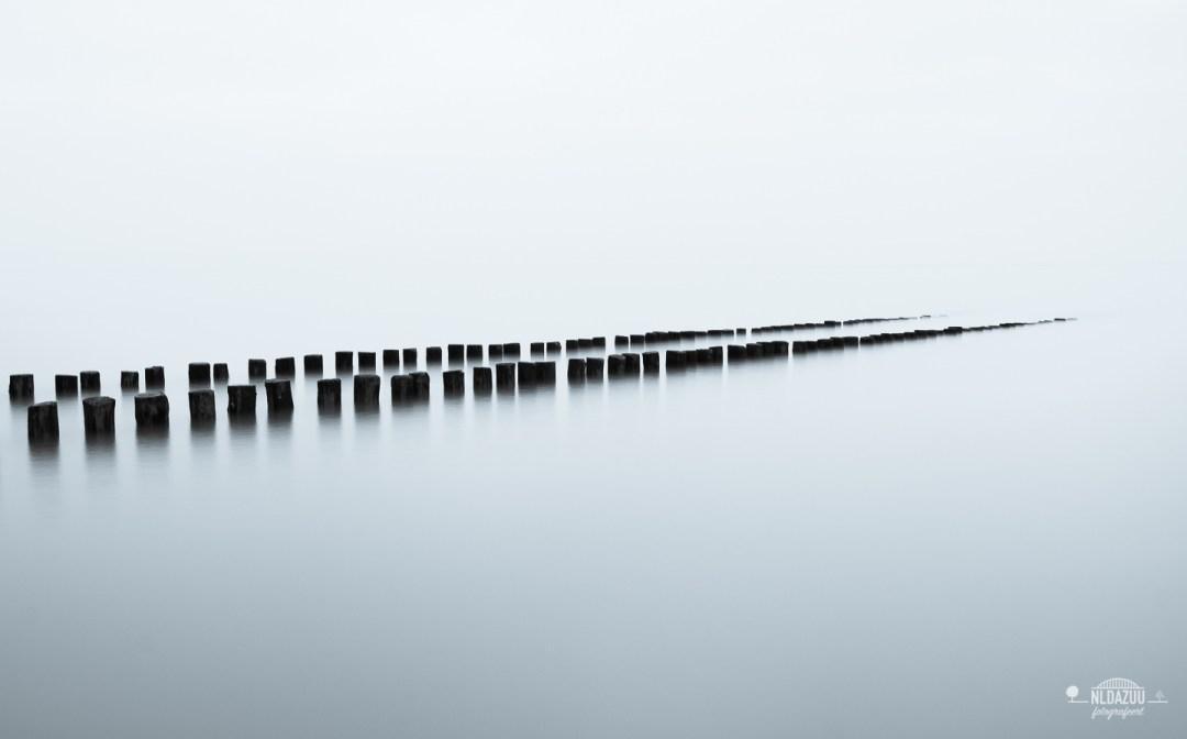Zwart wit fotografie, lange sluitertijd, Noordzee, zeelandschap