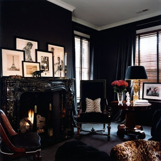 sitting room setting with dark tones and timeless style