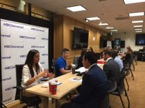 Jobs seekers met with recruiters from NBC, BuzzFeed, Los Angeles News Group, American Public Media, Circa and other organizations at the Los Angeles Journalism Job Fair, June 17, at SAG-AFTRA. Photo by Senta Scarborough