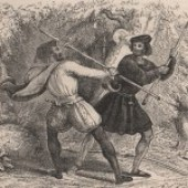 Illustration showing 2 men fighting