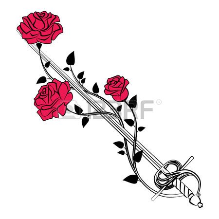 60449233-stock-vector-decorative-roses-with-sword-blade-entwined-roses-floral-design-elements-vector-illustration