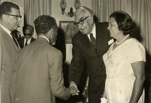 Sir Alexander and Lady Bustamante greet Emperor Selassie I