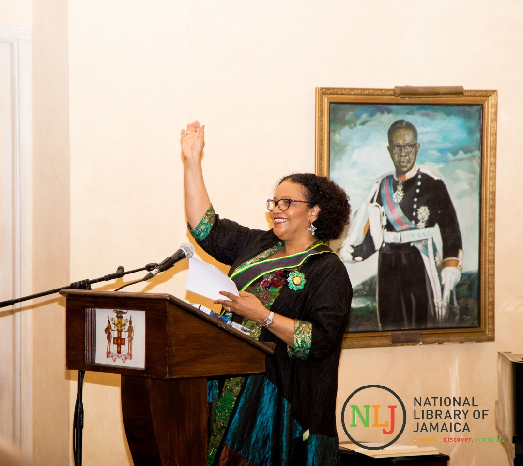 Poet Laureate of Jamaica, Lorna Goodison addresses the gathering in the King's House Ballroom