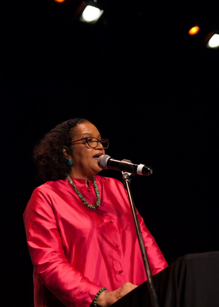 Poet Laureate of Jamaica, Lorna Goodison, speaks at the 5th African Women International Writers Symposium (Sep. 2017)