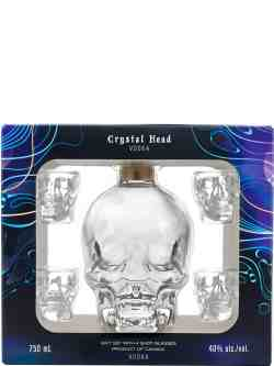 Crystal Head Vodka with 4 Shot Glasses Gift Pack