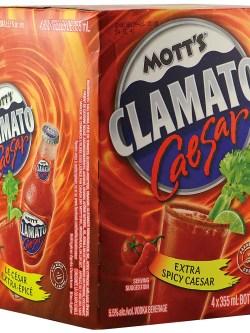 Mott's Clamato Caesar Extra Spicy 4 Pack