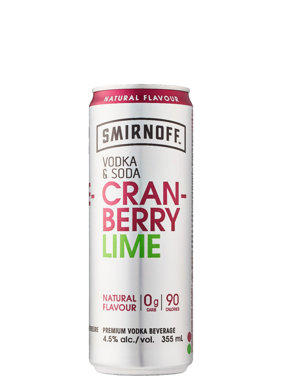 Smirnoff Vodka & Soda Cranberry Lime 4 Pack Cans