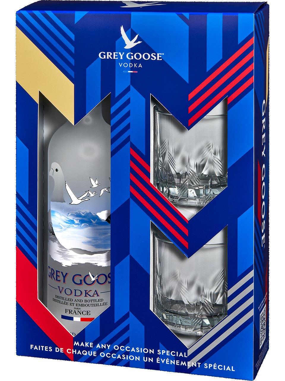 Grey Goose Vodka with 2 Rock Glasses