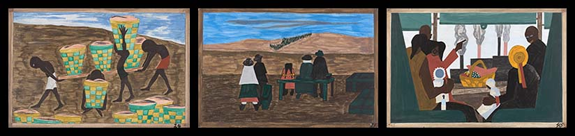 "Panels 21, 24, and 45 from ""The Migration Series"" by Jacob Lawrence show African Americans at work and on the move"