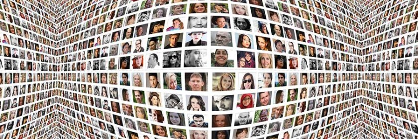 Hundreds of profile pictures and avatars convey the reach and diversity of an online community