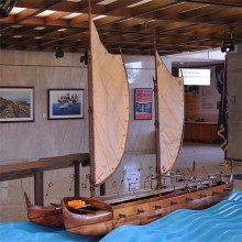 model of a double-hulled sailing canoe