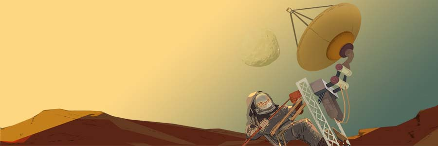 Artist's concept of an astronaut repairing a communications antenna on Mars, with Martian moon Phobos in the sky.
