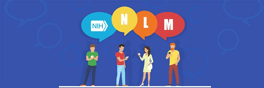 "concept vector illustration of young people using mobile smartphone for texting, messaging and answering questions online with ""NLM"" in big colored bubbles on blue background"