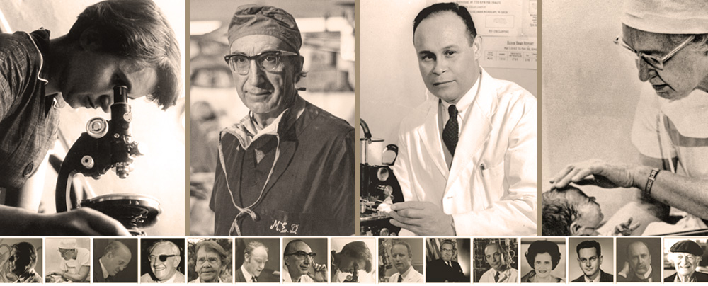 Photo montage of men and women featured in NLM's Profiles in Science