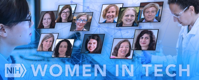 Photos of eleven NIH researchers at who are featured in the blog post. In the background are two researchers working at NLM