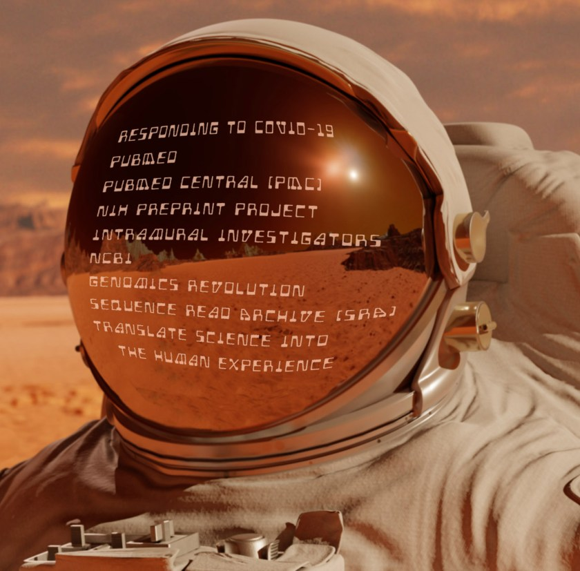 Astronaut on Mars with services of NLM written on his reflective helmet.