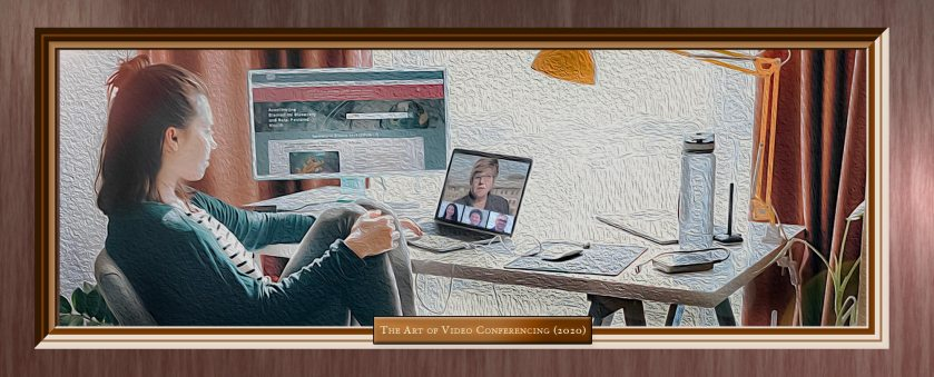 Woman teleworking on both a laptop and a desktop computer. Image looks like an oil painting in a frame.