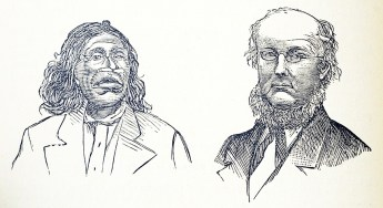 A man with a wide mouth and a pierced nose and a man with glasses and a big beard.