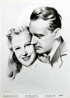 A promotional image of the stars of The Girl in White.