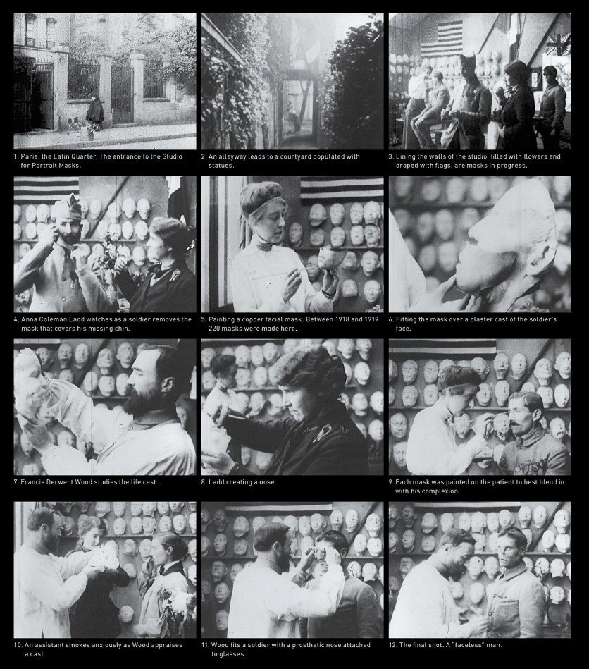 A series of still images from the silent black and white film showing people making and fitting facial prosthetics.