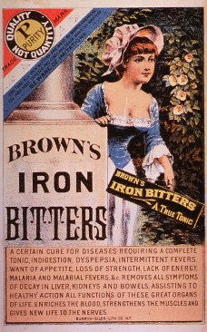 Patent medicine trade card featuring advertisement for Brown's Iron Bitters