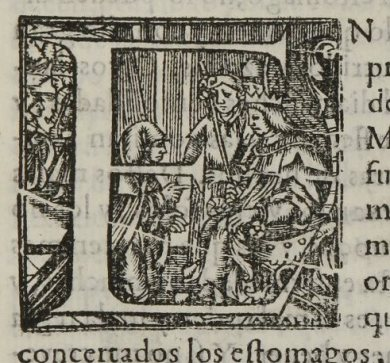 A woodcut illustration of the letter E and depicting a man kneeling before a King.