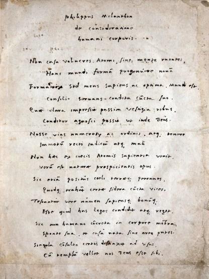 A handwritten poem in Latin.