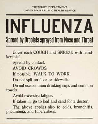 Tresury Department, US Public Health Service, Influenza Spread by Droplets sprayed from Nose and Throat.