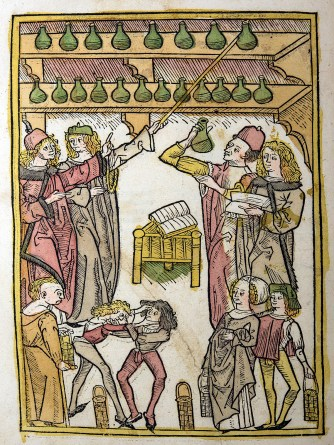 A colored woodcut depicting a book in the center of a room full of people, flasks, baskets and books; two people wrestle while others watch.
