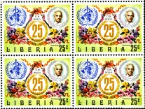 1973 stamp from Liberia featuring a headshot of Alexander Fleming and the symbol for the World Health Organization.